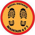 Social Distance Maintain 6 FT. Sticker.