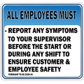 All Employees Must Report Any Symptoms Sticker