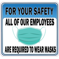 For Your Safety All of Our Employees Wear Masks Sticker
