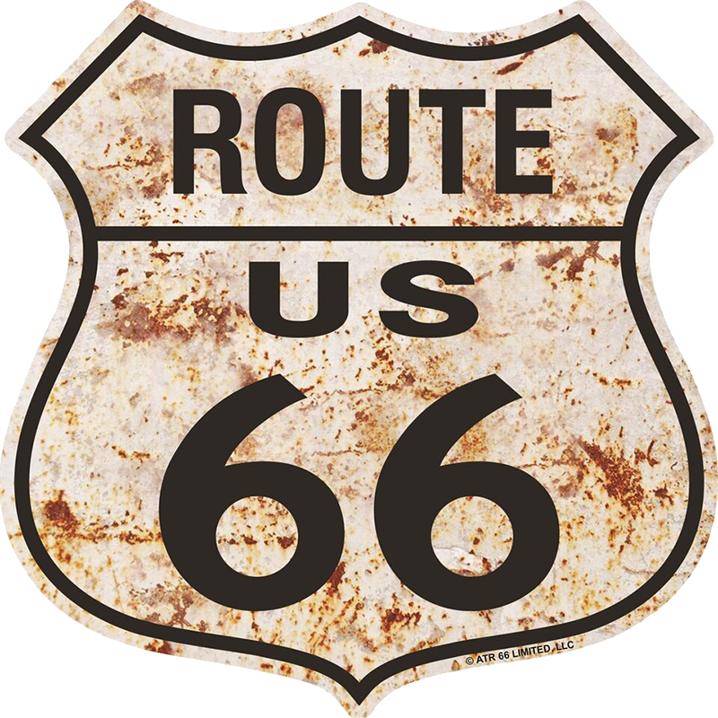 Route 66 Rusty Metal Shield Sign