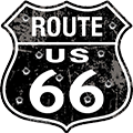 Route 66 Distressed Embossed Metal Shield Sign