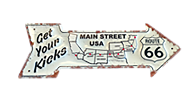 Get Your Kicks Arrow Map Metal Sign