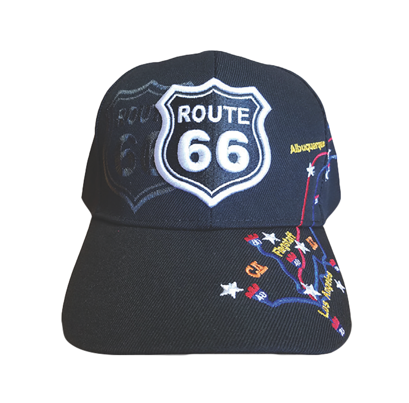 Black Route 66 Map Embroidered Hat