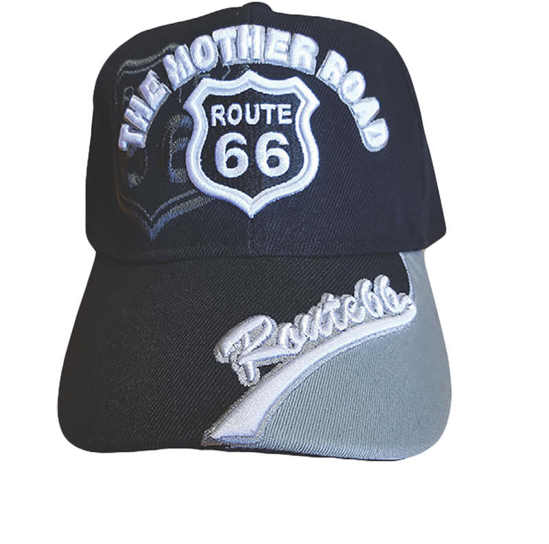 Black Route 66 Embroidered The Mother Road Hat