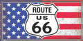 Distressed Route 66 Flag License Plate