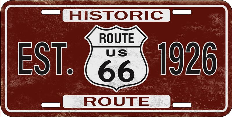 Historic Route 66 License Plate
