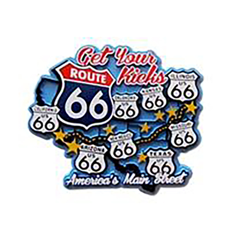 Large Route 66 Blue Map Molded Magnet