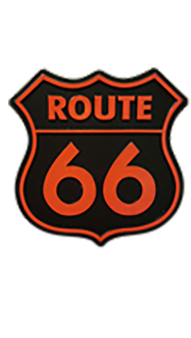 Small Orange And Black Route 66 Molded Magnet