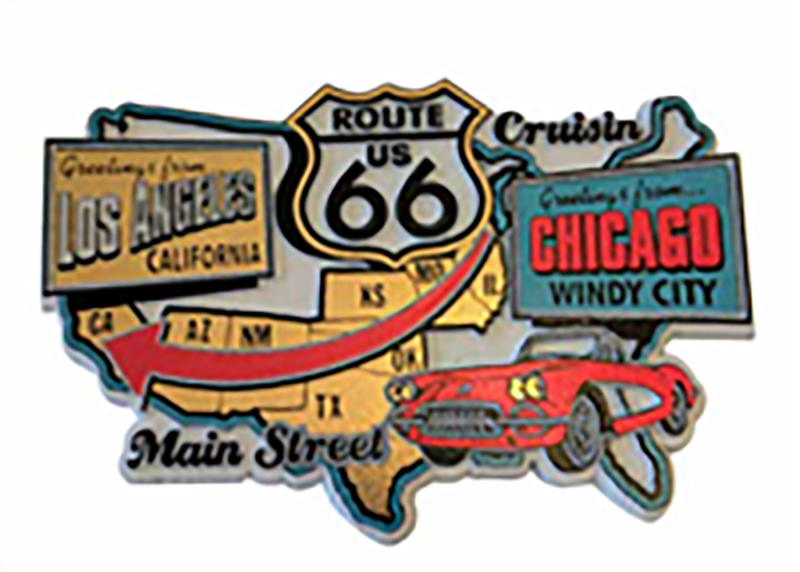 Large Route 66 Map Molded Magnet