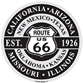 Round Route 66 Embossed Metal Sign