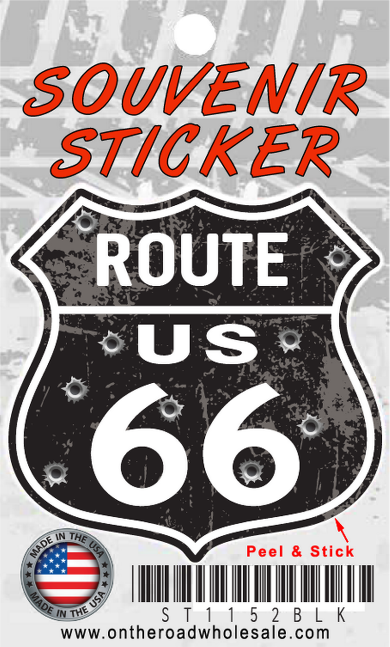 Route 66 Distressed Shield Sticker