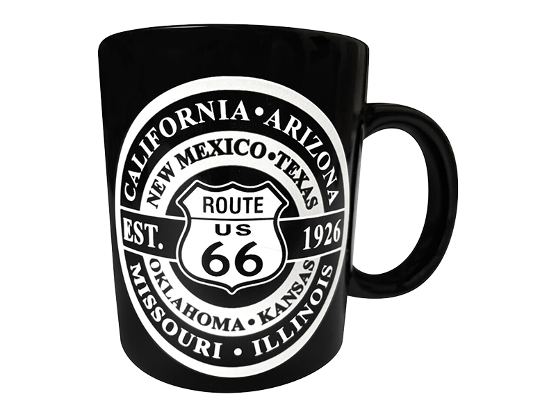 Route 66 Black Mug with Round Design