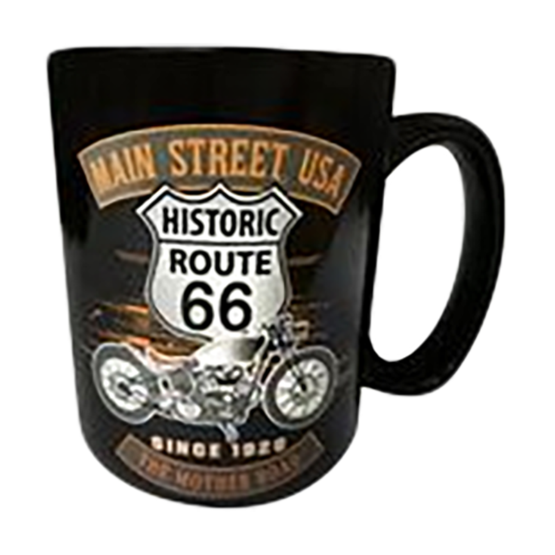 Route 66 Black Mug with Orange Main Street Bike Design (Large)