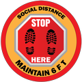 Social Distance Stop Here Maintain 6 FT. Sticker
